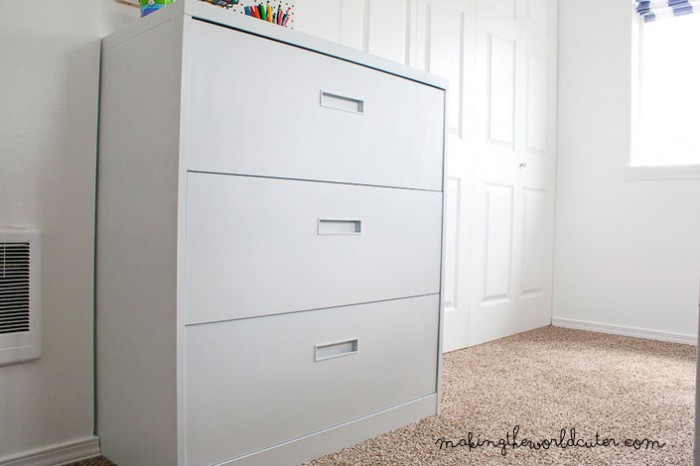 CUTE Filing Cabinet Makeover! Love The Flat White Vs. The Glossy Stuff.  Makingtheworldcuter