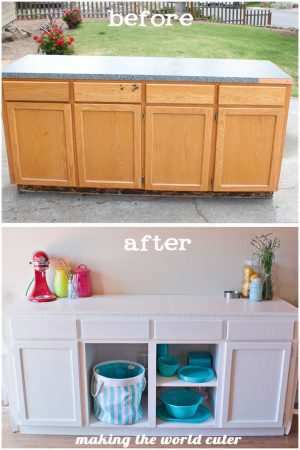 Fabulous DIY Cabinet Makeover from Making the World Cuter. Love the Bead Board Trim!