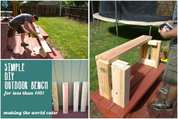 Simple DIY Outdoor Bench for less than $10!
