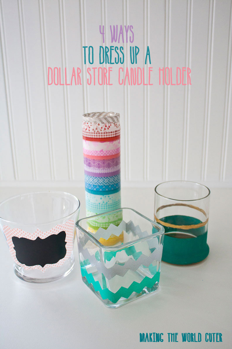 4 ways to dress up a dollar store candle holder, perfect for bathroom or jewelry organization at Making the World Cuter
