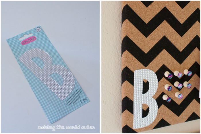 Bling out a cork board with sequin monogram and custom push pins