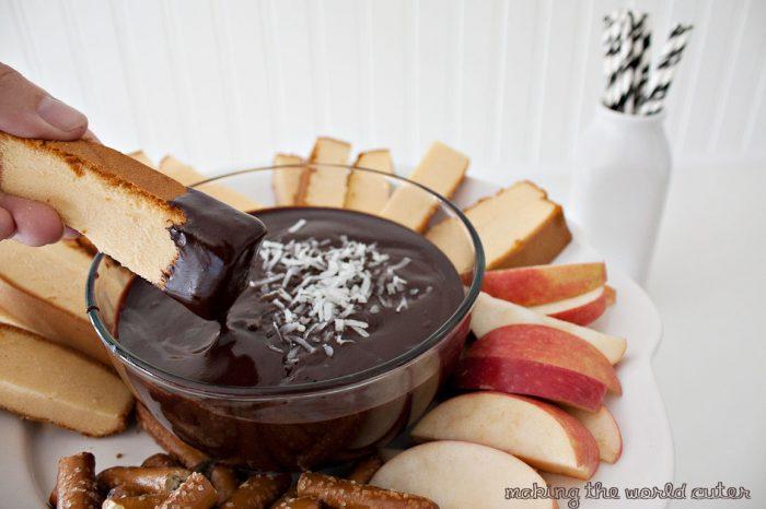 Easy and delicious coconut chocolate fondue recipe