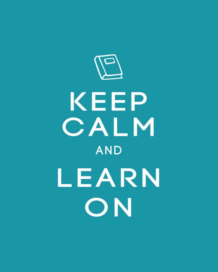 Keep Calm and Learn On Back to School Printable Poster in Blue