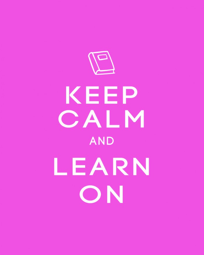 Keep Calm and Learn On Back to School Printable Poster in PInk