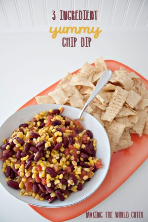 3 ingredient yummy chip dip. Corn, Beans and Rotel. Yum!