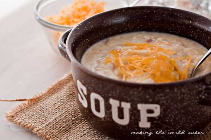 Creamy Baked Potato Soup Recipe, the ultimate comfort food on a cold winter day!