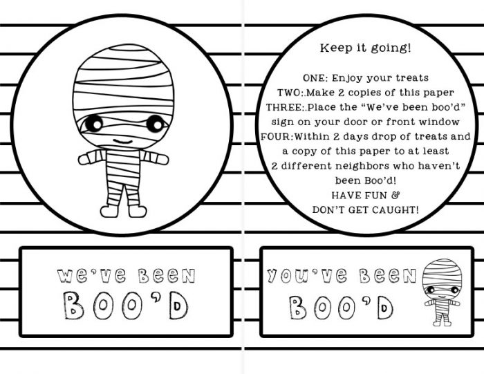 You've Been Boo'd Free Printable! Love the Mummy, and that it's easy on the printer and copier! :)