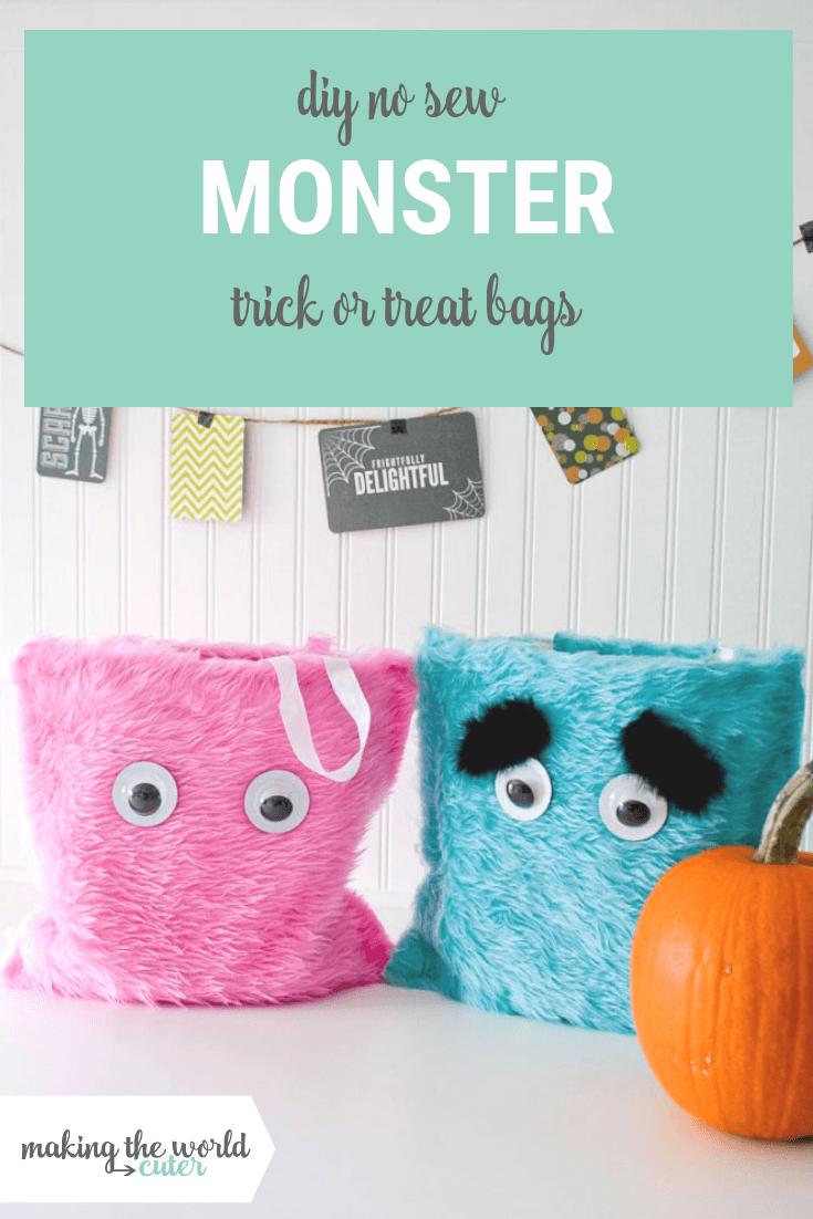 DIY No Sew Monster Trick or Treat Bags