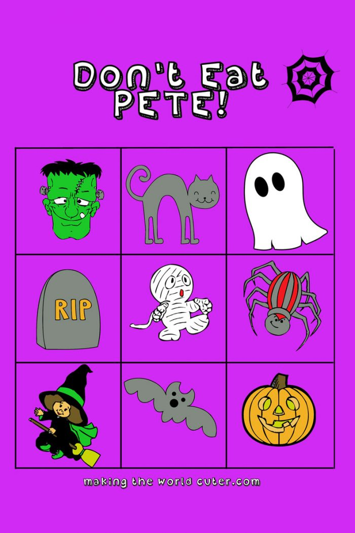 Halloween Don't Eat Pete Free printable in color and black and white, also in full size and 4x6 giveaway size! These would make great Halloween giveaways with a bag of m&m's!