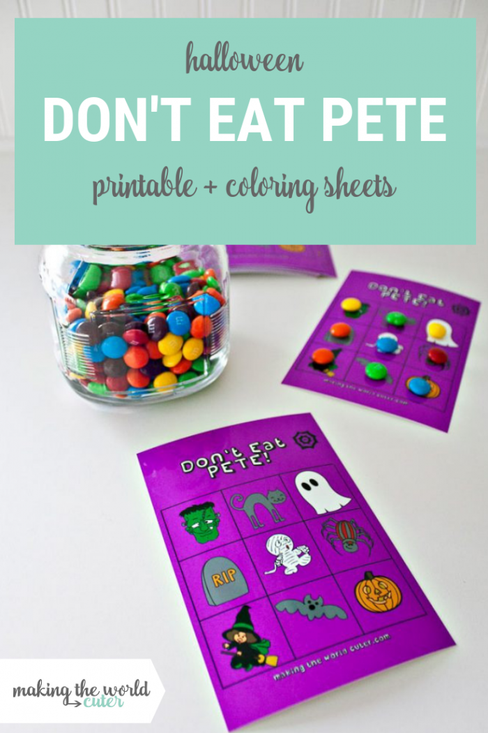 Halloween Don't Eat Pete Printable Game and Coloring Sheet. Perfect for class parties, trick or treat or family game night!