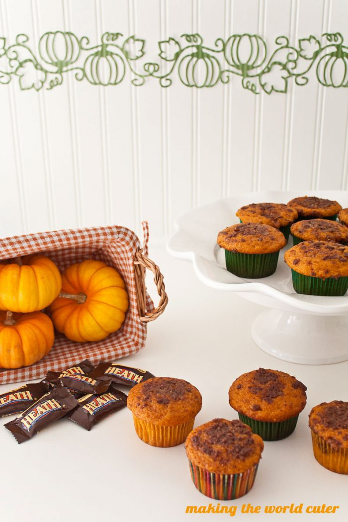 Pumpkin Toffee Muffin Recipe! I need to make these! Yum!