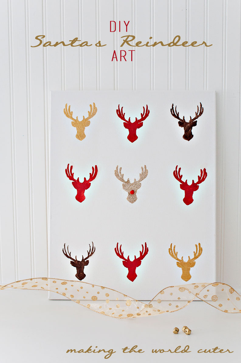 DIY Santa's Reindeer Art from Making the World Cuter