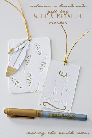 Enhance a handmade gift tag with a gold marker for a shimmery effect. #BICMerryMarking #YellowGold