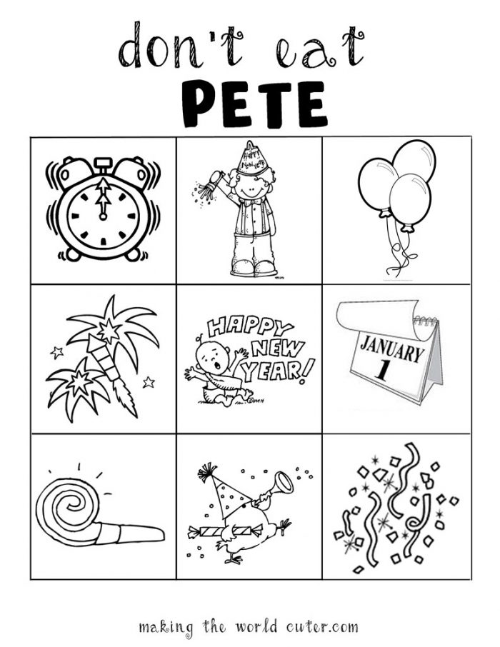 New Years Coloring Sheet and Game Don't Eat Pete