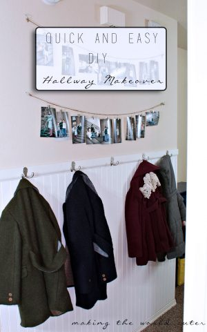 DIY Beadboard Hallway with a place to hang your coats and bags and an easy way to hang some photos. Can't wait to see what comes next!