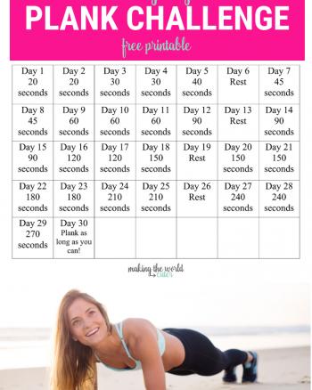 30 Day Plank Challenge Free Printable Calendar