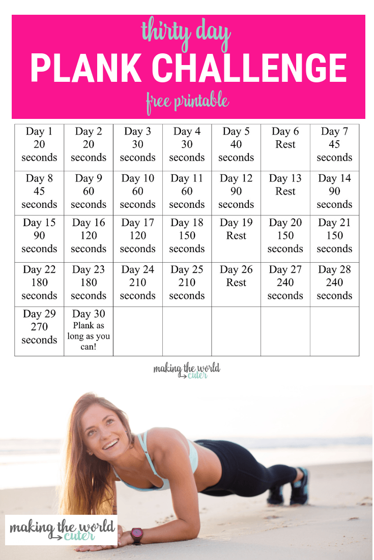 Vibrant image in 30 day plank challenge printable