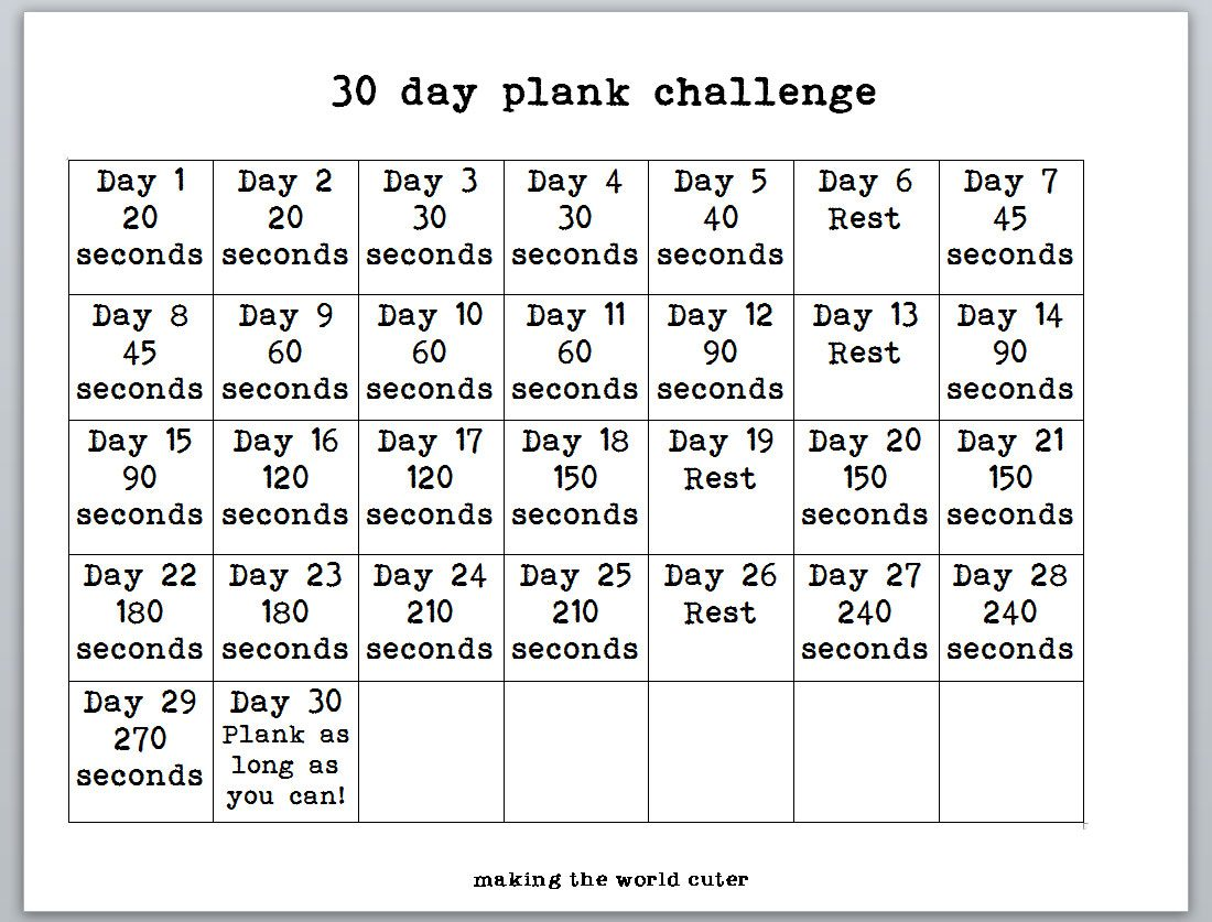Stupendous image within 30 day plank challenge printable