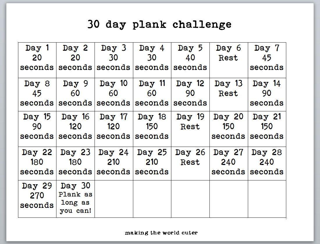 30 Day Plank Challenge Printable Calendar 30 day plank challenge chart ...