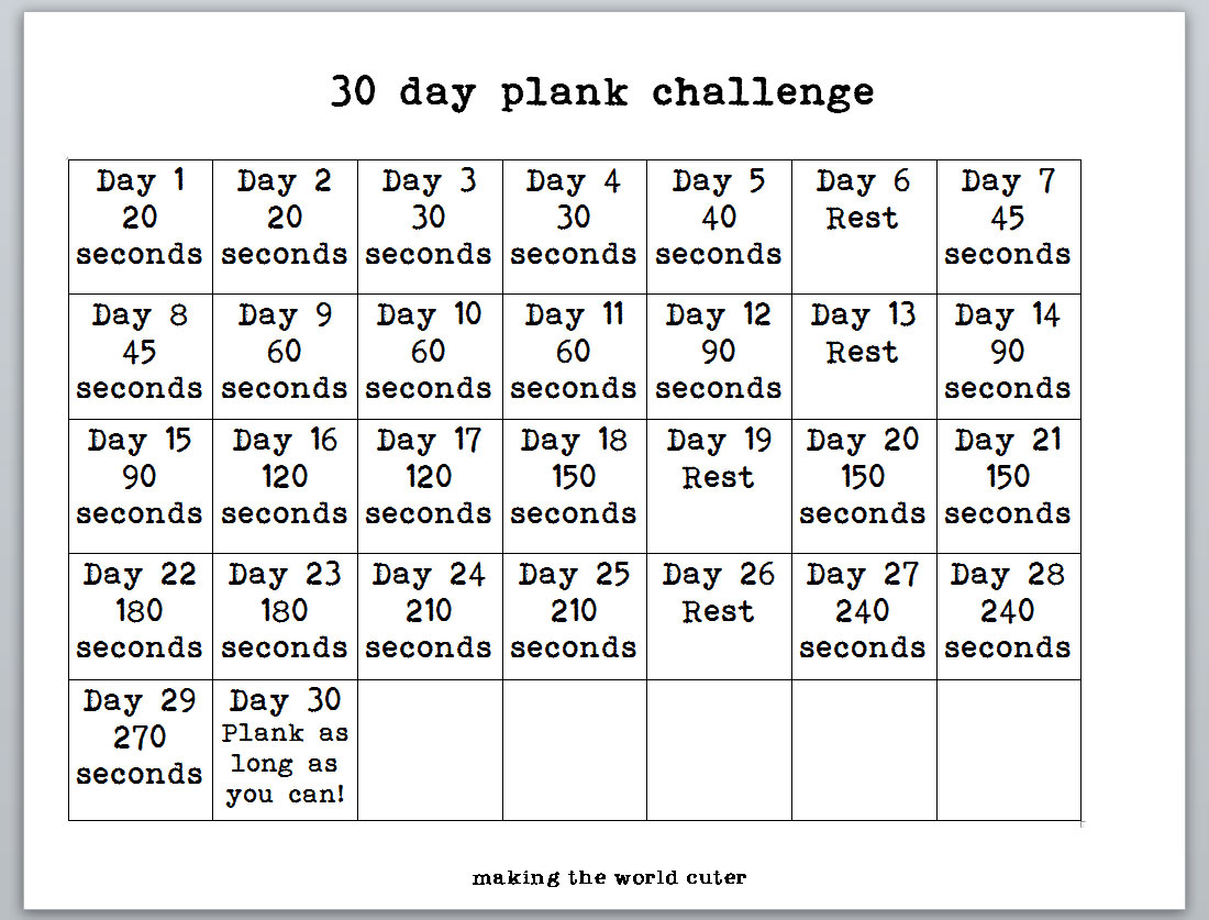 30 Day Plank Challenge - See the Best Planking Workouts!