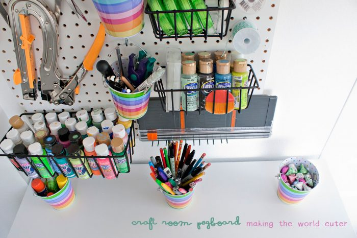 Craft Room Pegboard Organization from Making the World Cuter
