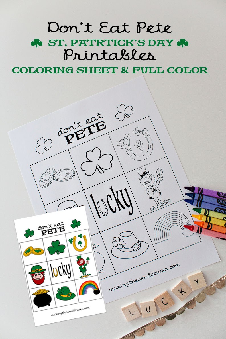 St Patricks Day Printables Don't Eat Pete Coloring Sheet and Full Color Versions