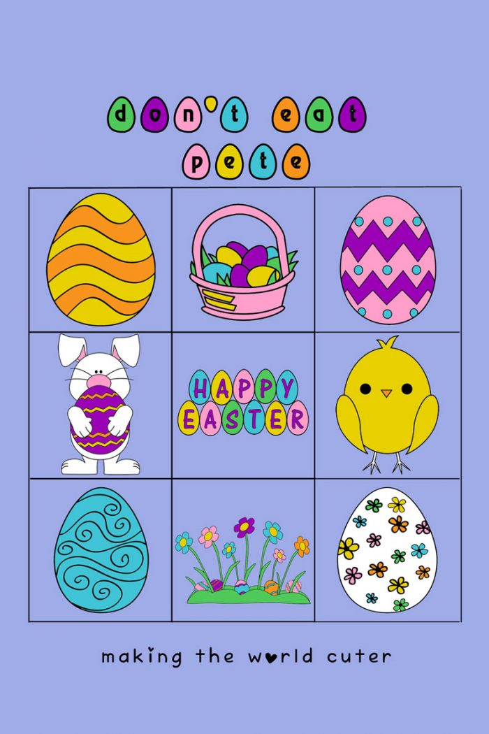 Easter Printable Don't Eat Pete. Color version, and coloring book version