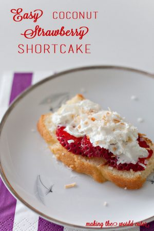 Super simple coconut strawberry shortcake, perfect for desserts, Easter, mother's day, brunch....