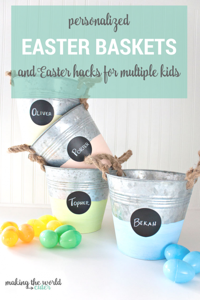 Personalized Easter Baskets, using galvanized buckets and chalk paint, plus a brilliant Easter hack for multiple kids!