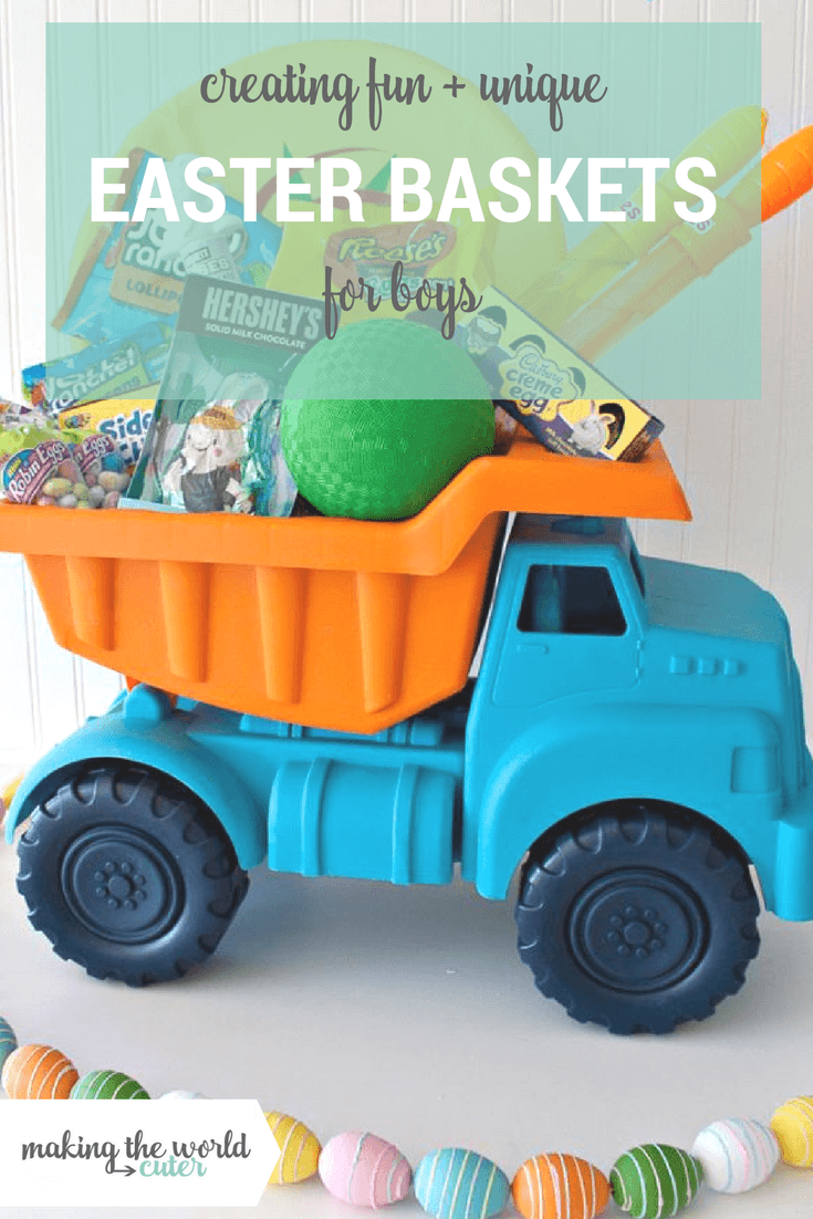 Creating Fun and Unique Easter Baskets for Boys. Blue and Orange Dump truck full of fun candy and toys.