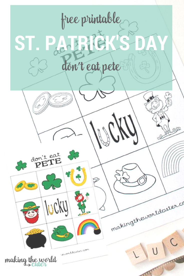 St Patrick's Day Don't Eat Pete Free Printable. Perfect for Classroom Parties and Family Dinners
