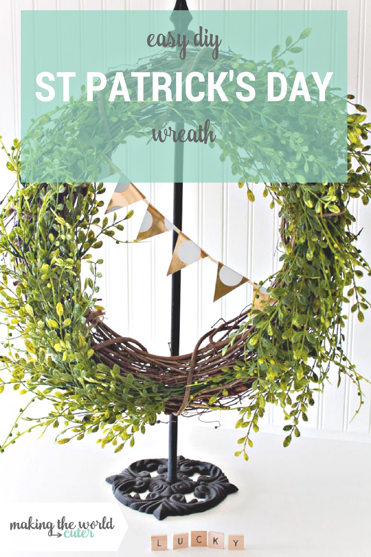 Easy Spring Wreath perfect for St Patrick's Day