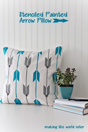 "Using a stencil from Cutting Edge Stencil's new company ""Paint a Pillow"" you can make beautiful designer pillows. Love this arrow design!"