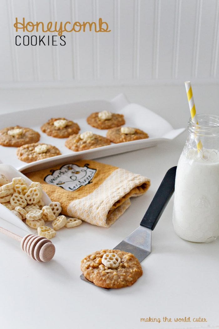 Honeycomb Cookies! Honey cookies with Honeycomb cereal baked inside, that makes a chewy delicious cookie that's not at all ordinary! Must try!