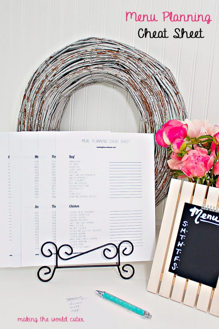 112 Dinner Ideas! Menu planning cheat sheet. Easily look through these ideas while putting together a menu for grocery shopping. Lot's of space to put more favorites on too! Brilliant!