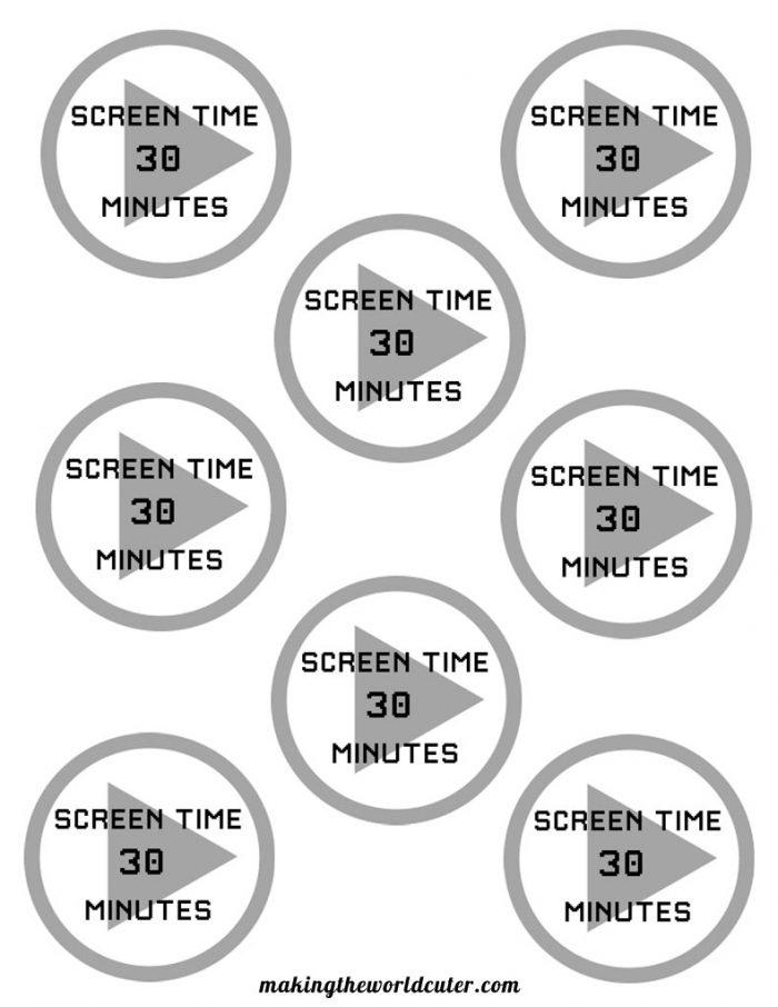 Free printable screen time tokens