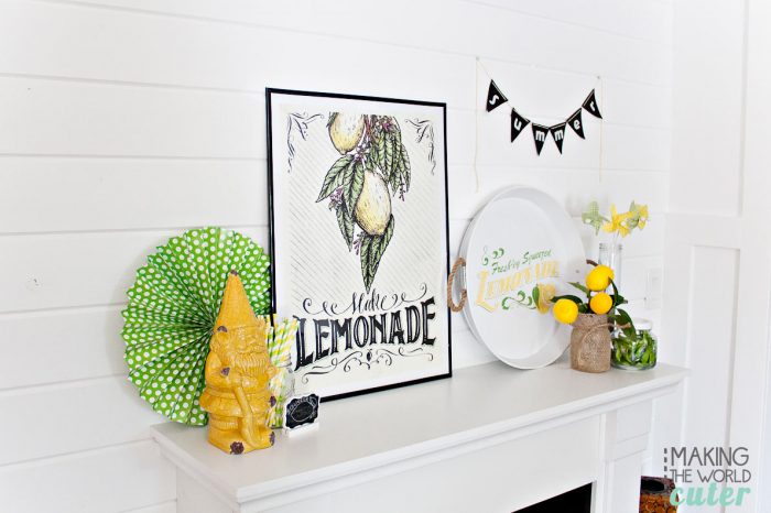 Cute Summer Mantel Ideas with a green and yellow lemonade theme.