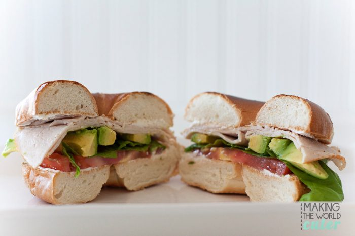 Turkey Basil Toasted Bagel with tomato, avocado and cream cheese. Yum!