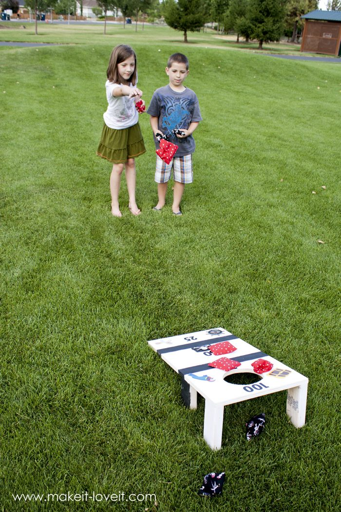 Super fun and customizable diy bean bag toss game. Perfect for tailgate parties.