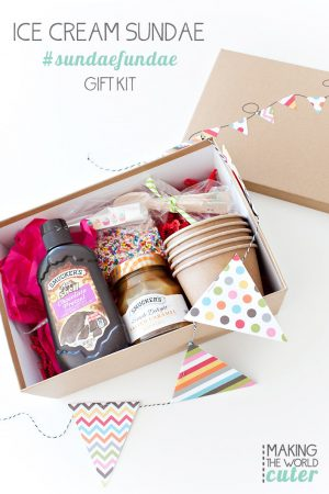 DIY Ice Cream Sundae Gift Box. #SundaeFundae