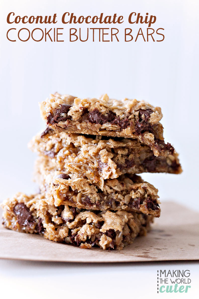 Chewy Coconut Chocolate Chip Cookie Butter Bars (NO FLOUR! If you are gluten free, substitute the cookie butter for peanut butter and these are gluten free!) These are AMAZING, we have made them several times already. Yum!
