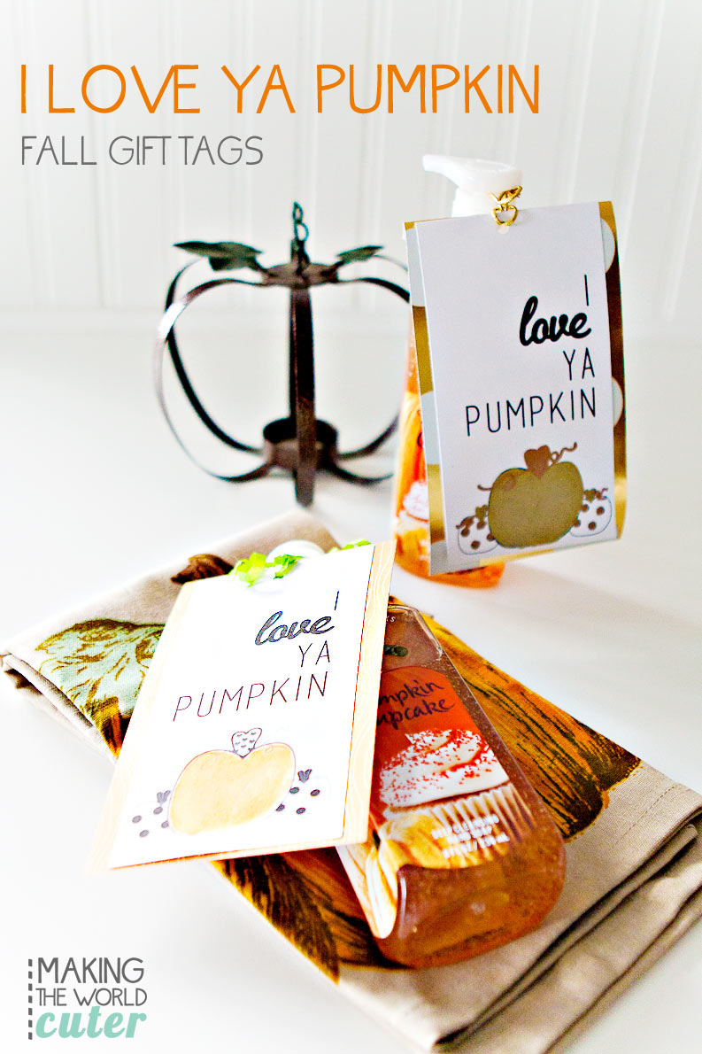 I love ya Pumpkin! Free printable gift tags for everyone! Also a bigger colored version to frame with newsletter subscription. Perfect to give with a pumpkin Bath and Body Works soap or lotion, or some delicious pumpkin treat!
