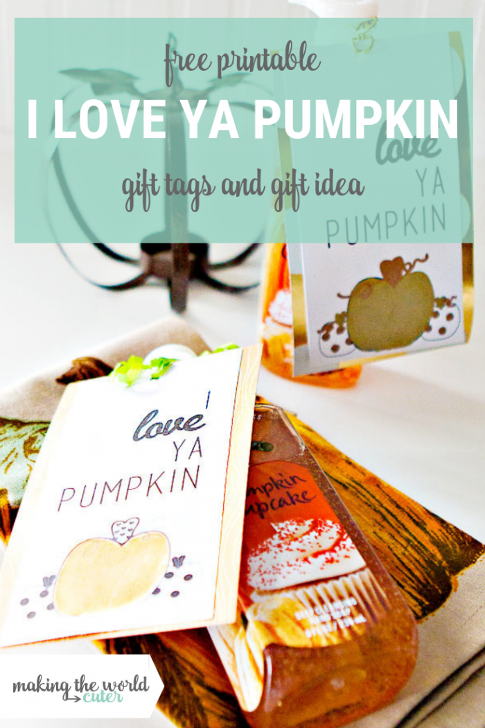 I love ya pumpkin gift tags for fall and pumpkin themed gifts and gift idea!