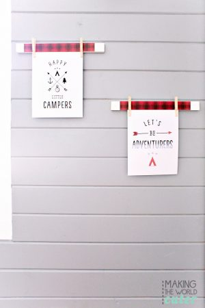 Super simple and SUPER cute plaid (or any design you want) picture hanger, to hang and display the free printables you collect! These are used in the cutest boys lodge bunk room! Love the gray shiplap wall!