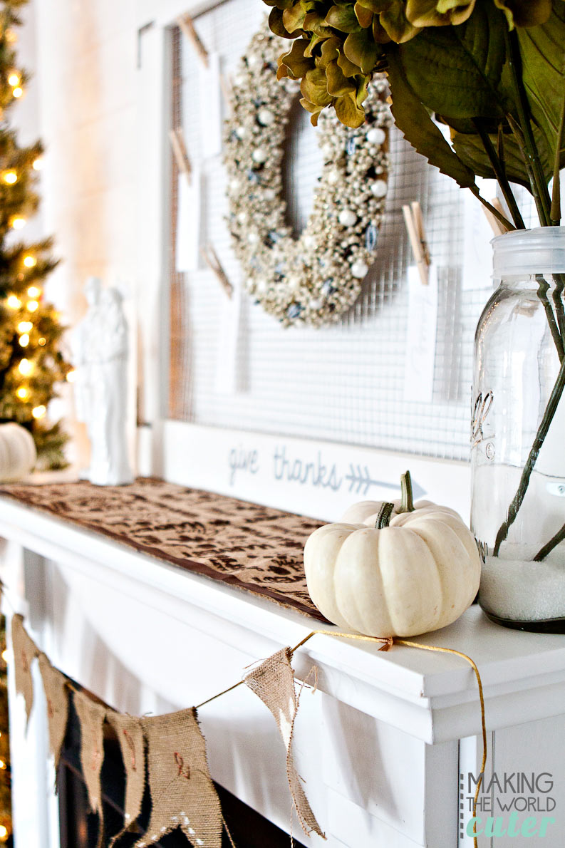 Thanksgiving Mantel at Making the World Cuter. Love the white and natural elements, it's beautiful!