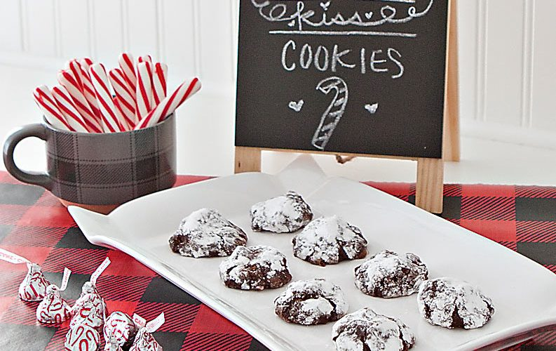 Flourless Chocolate Peppermint Kiss Cookies