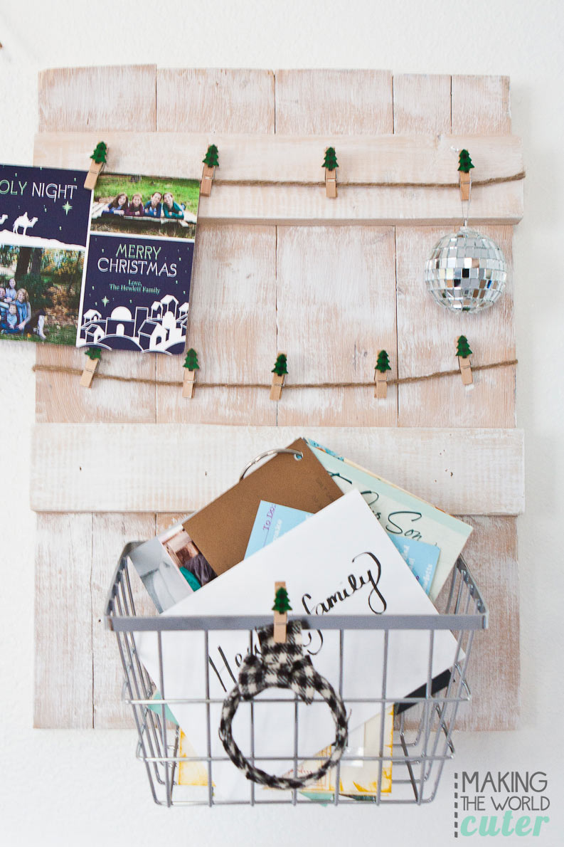 rustic diy christmas card holder with basket to hold the cards that dont need - Christmas Card Holder Wall Hanging