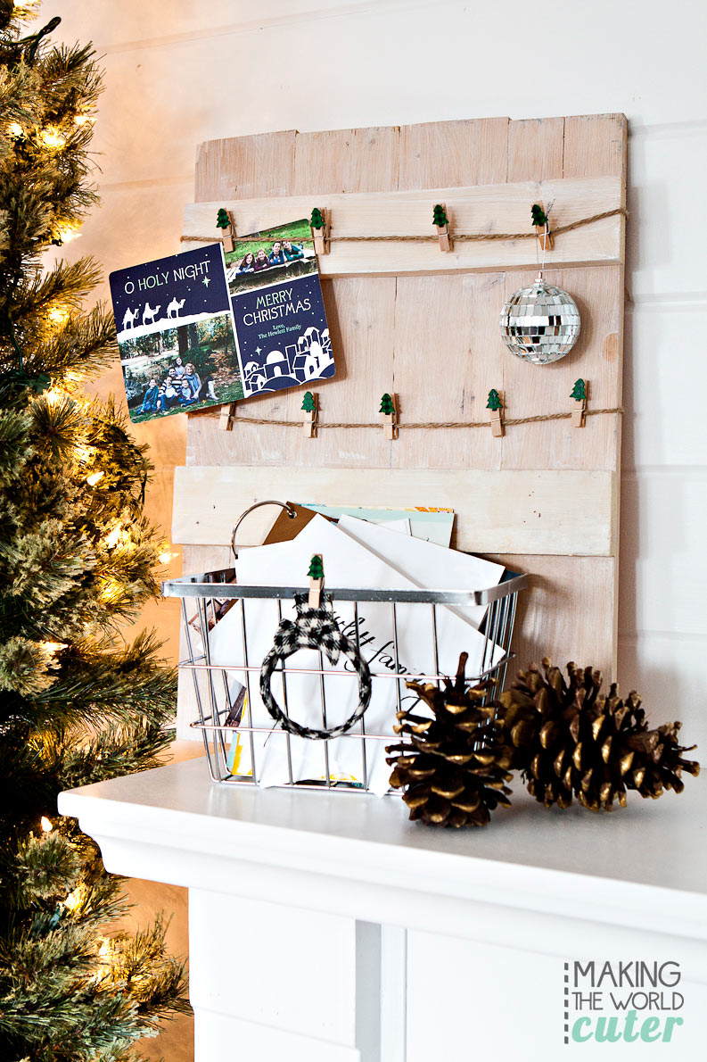 rustic diy christmas card holder with basket to hold the cards that dont need - Rustic Christmas Cards
