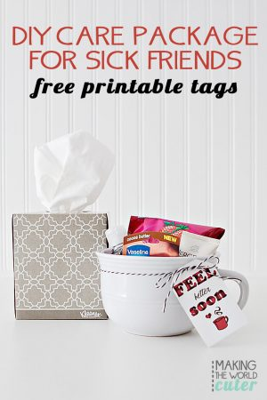 Sick Friend Care Package with CUTE free printable tags!