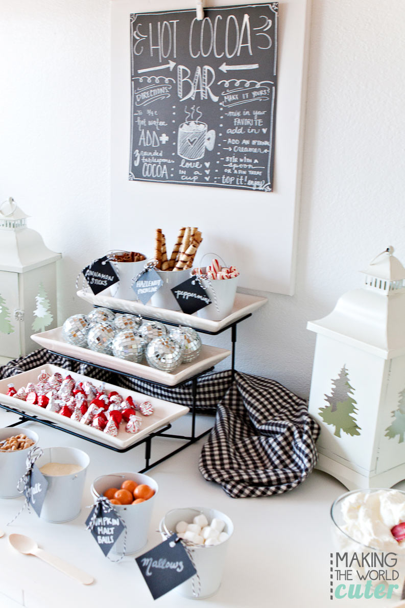 These are awesome and EASY tips to make your hot cocoa bar be the talk of the town! Lots of good ideas for a super fun party this winter from Making the World Cuter.